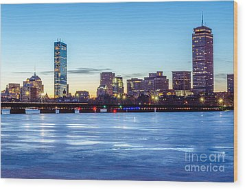 Icy Boston At Dawn Wood Print by Mike Ste Marie