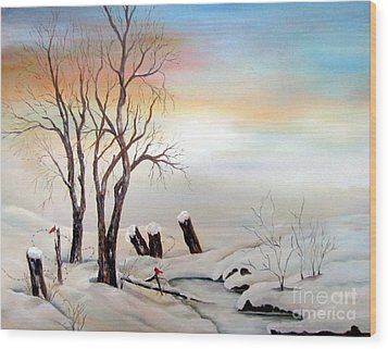 Wood Print featuring the painting Icy Dawn by Anna-maria Dickinson