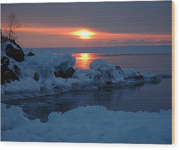 Wood Print featuring the photograph Icy Lake Superior Sunrise by Sandra Updyke