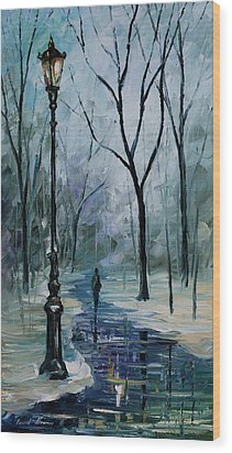 Icy Path - Palette Knife Oil Painting On Canvas By Leonid Afremov Wood Print by Leonid Afremov