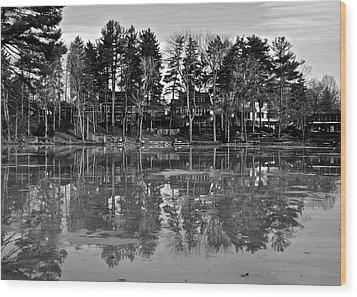 Icy Pond Reflects Wood Print by Frozen in Time Fine Art Photography