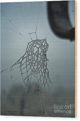 Icy Spiderweb Wood Print by Ramona Matei