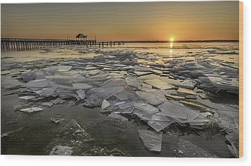 Icy Sunrise Wood Print