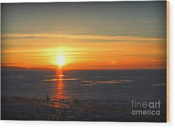 Icy Sunset Wood Print