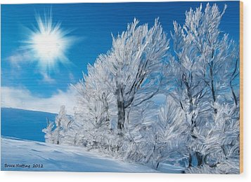 Icy Trees Wood Print by Bruce Nutting