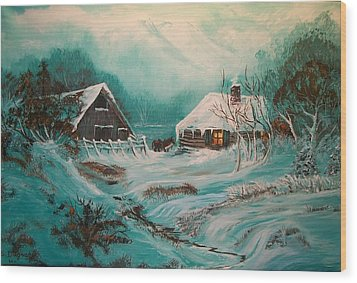 Wood Print featuring the painting Icy Twilight by Sharon Duguay