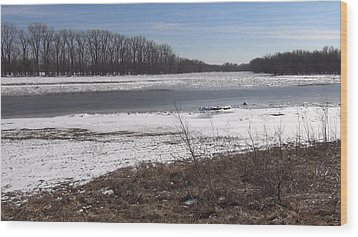 Wood Print featuring the photograph Icy Wabash River by Tony Mathews