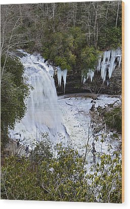 Icy Waterfall Wood Print by Susan Leggett