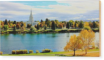 Wood Print featuring the photograph Idaho Falls Temple by Benjamin Yeager