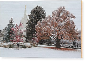 Idaho Falls Temple Winter Wood Print by David Andersen
