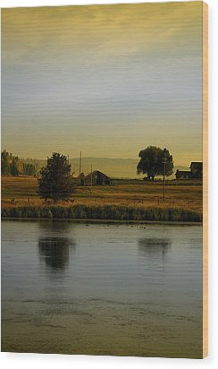 Idaho Tree Reflections  Wood Print by Mary Gaines