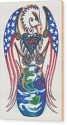 Idealistic Eagle With A Blue Egg Wood Print by Melinda Dare Benfield