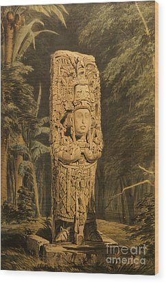 Idol At Copan By Frederick Catherwood Wood Print