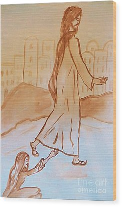 If I Could Touch His Hem Wood Print by Judy Via-Wolff