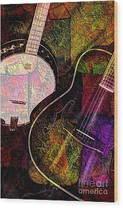 If Not For Color Digital Banjo And Guitar Art By Steven Langston Wood Print by Steven Lebron Langston