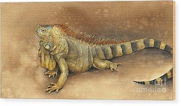 Iguana Wood Print by Nan Wright
