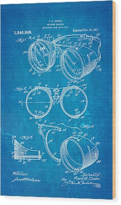 Ihrcke Welding Goggles Patent Art 1917 Blueprint Wood Print by Ian Monk