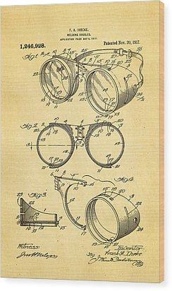 Ihrcke Welding Goggles Patent Art 1917 Wood Print by Ian Monk