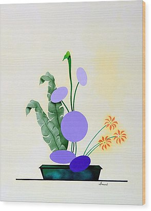 Ikebana #2 Green Pot Wood Print