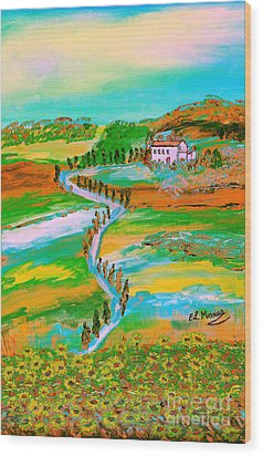 Wood Print featuring the painting  Tuscan Countryside by Loredana Messina