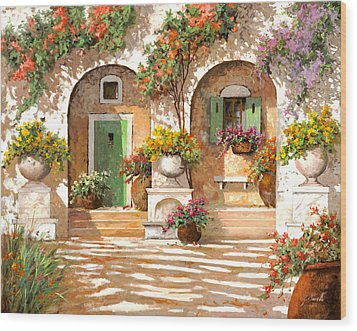 Il Cortile Wood Print by Guido Borelli
