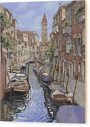 il gatto nero a Venezia Wood Print by Guido Borelli