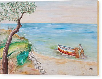 Wood Print featuring the painting Il Pescatore Solitario by Loredana Messina
