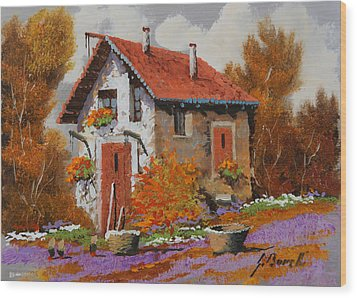 Il Prato Viola Wood Print by Guido Borelli