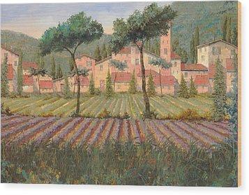 Il Villaggio Tra I Campi Di Lavanda Wood Print by Guido Borelli