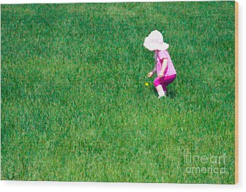 I'll Pick This Pretty Flower For You Wood Print by Karen Lee Ensley