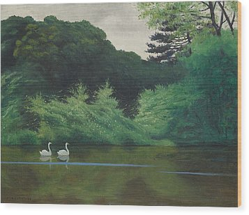Ille Du Lac Saint James Wood Print by Felix Edouard Vallotton