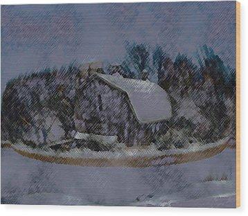 Illinois Barn Rock Wall Wood Print by Dennis Buckman