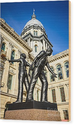 Illinois Police Officers Memorial In Springfield Wood Print by Paul Velgos