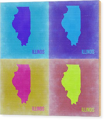 Illinois Pop Art Map 2 Wood Print by Naxart Studio