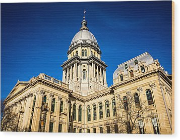 Illinois State Capitol Building In Springfield Wood Print by Paul Velgos