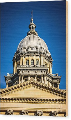 Illinois State Capitol Dome In Springfield Illinois Wood Print by Paul Velgos