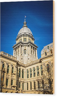 Illinois State Capitol In Springfield Illinois Wood Print by Paul Velgos