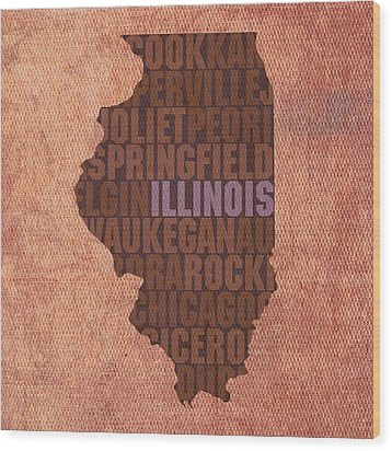 Illinois State Word Art On Canvas Wood Print by Design Turnpike
