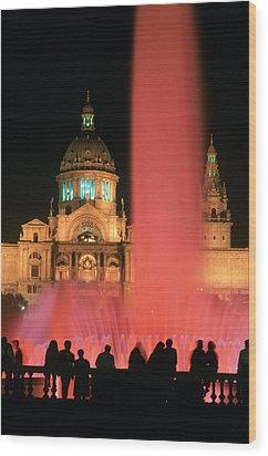 Illuminated Fountain Wood Print by Ken Straiton