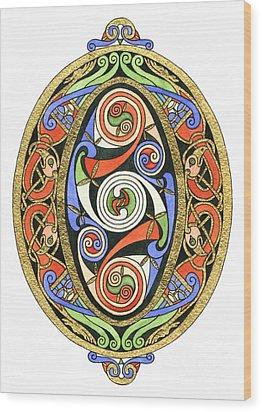 Illuminated O Wood Print by Cari Buziak