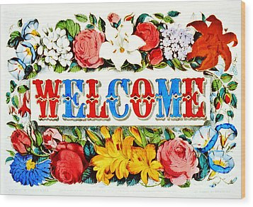 Illuminated Welcome Sign 1873 Wood Print by Padre Art