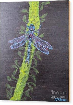 Illumination Of A Blue Dragonfly's Form At Nightfall Painting Wood Print by Kimberlee Baxter