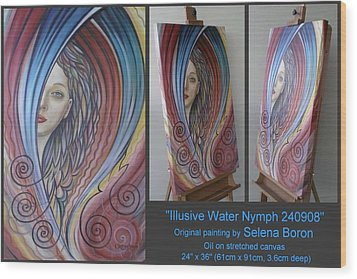 Wood Print featuring the painting Illusive Water Nymph 240908 by Selena Boron