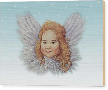 Illustrated Twinkling Angel Wood Print by Judith Cheng