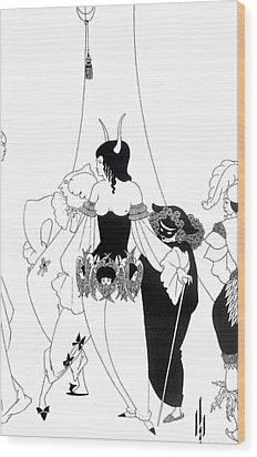 Illustration For The Masque Of The Red Death Wood Print by Aubrey Beardsley