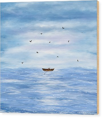 Illustration Of A Lonely Boat Wood Print