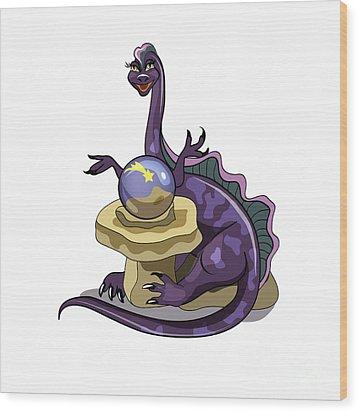 Illustration Of A Plateosaurus Fortune Wood Print by Stocktrek Images
