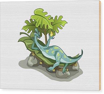 Illustration Of An Iguanodon Sunbathing Wood Print by Stocktrek Images