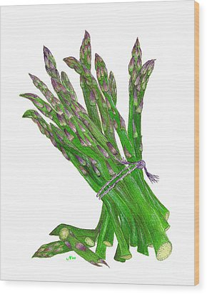 Illustration Of Asparagus Wood Print by Nan Wright