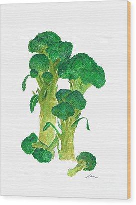 Illustration Of Broccoli Wood Print by Nan Wright